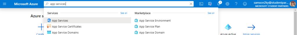 selecting app service